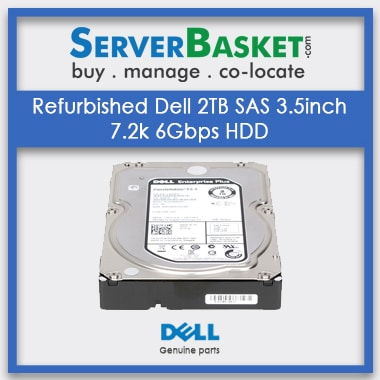 Buy Refurbished Dell 2TB Nearline SAS (NLSAS) 7.2K RPM 6Gbs 3.5inch HDD Hot Swap Hard Drive Online At Server Basket, Dell Server Hard Drives Online, Buy Dell 2TB SAS HDD Drive, Purchase Dell 2TB SAS HDD Drive from Server Basket